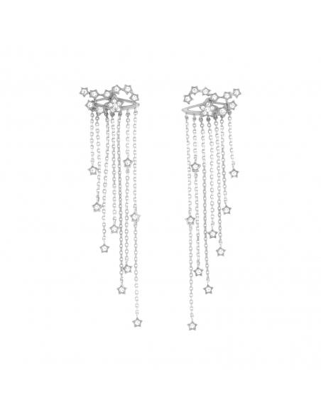 Constellation Fringe Earrings - silver