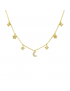 Star and Moon Necklace - gold