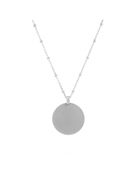 Disc Pendant Necklace - silver