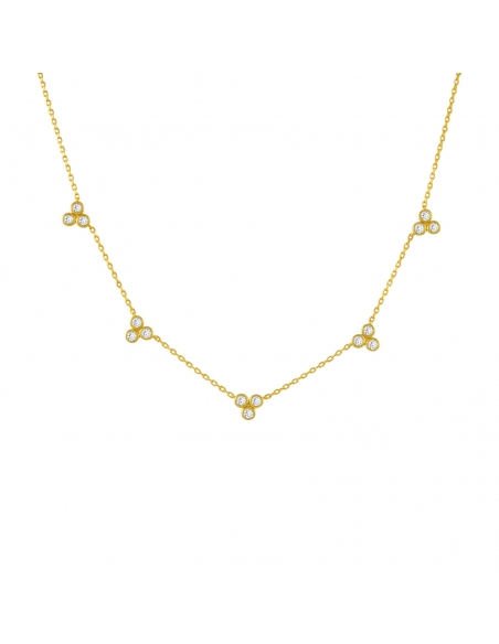 Crystal Trio Station Necklace - gold