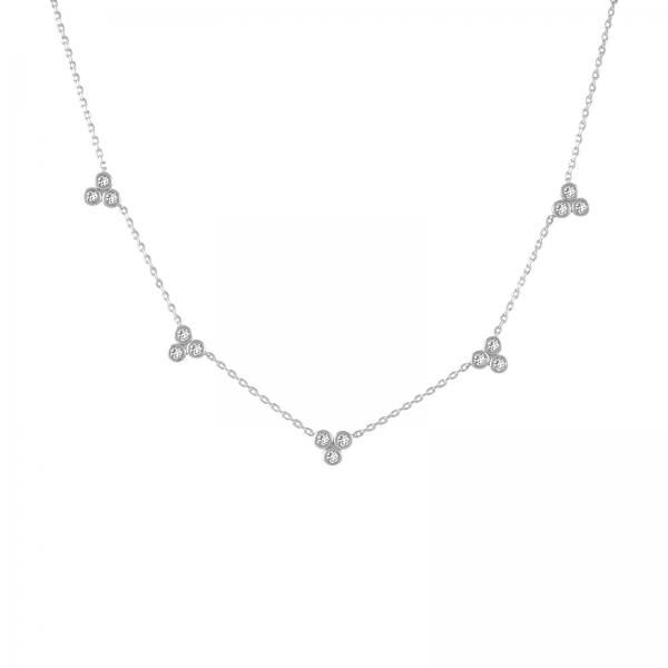 Crystal Trio Station Necklace - silver
