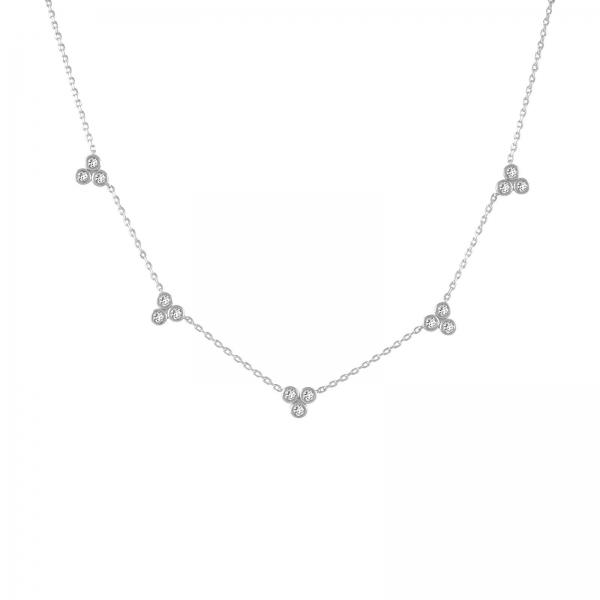 Trio Kristallen Ketting - zilver