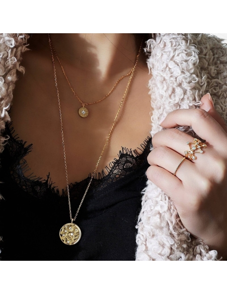 Celestial Disc Necklace - gold