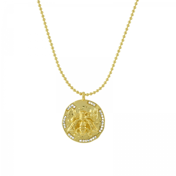 Bee Disc Necklace - gold
