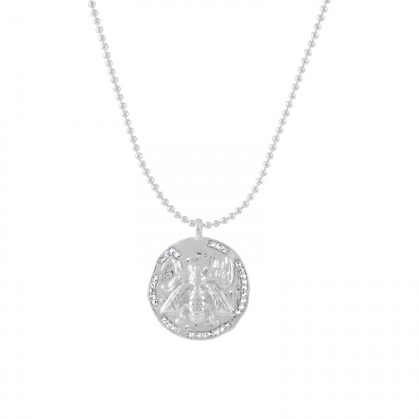 Bee Disc Necklace - silver