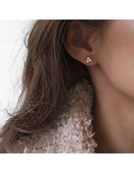 Front-back klaver oorbellen
