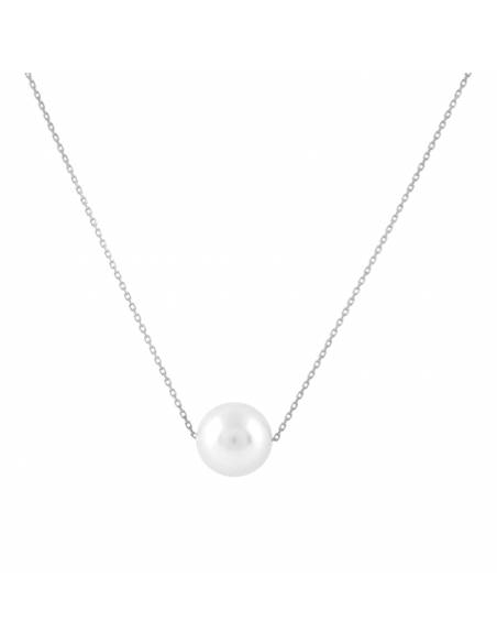 Floating Pearl Necklace - Silver