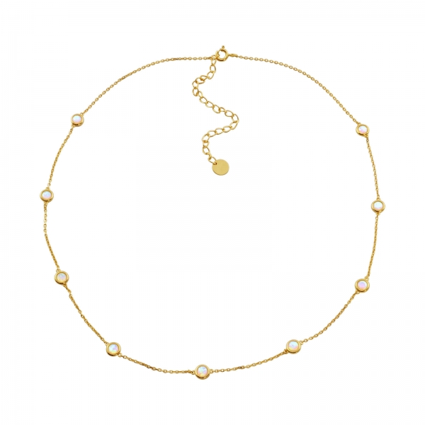 Opal Station Necklace - gold