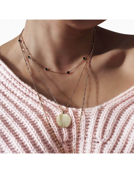 Black Stones Station Necklace - gold