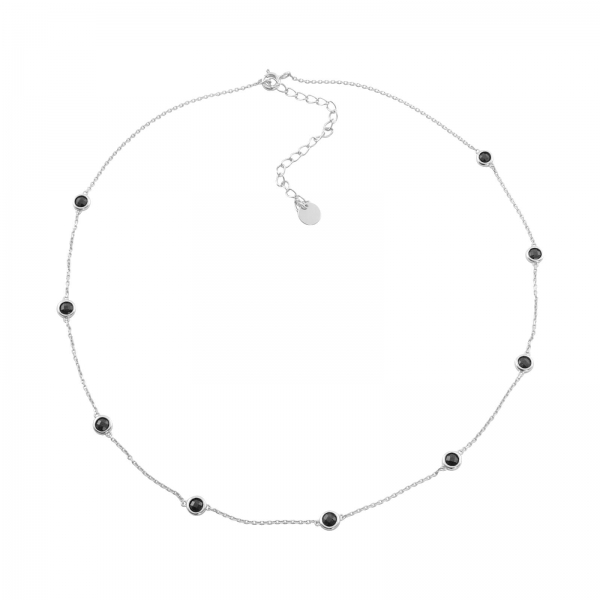 Black Stones Station Necklace - silver