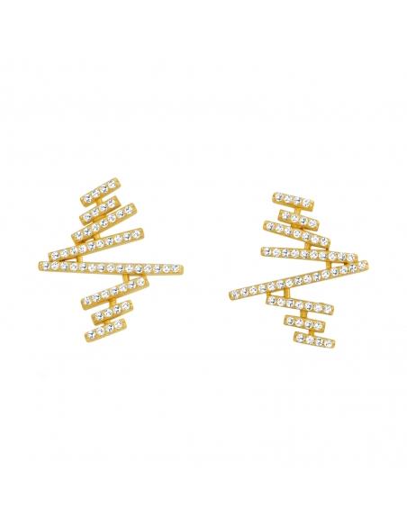 Gezigzagde plank oorbellen - goud