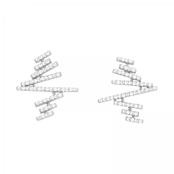 Gezigzagde plank oorbellen -zilver