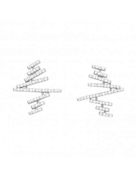 Zigzag Plank Earrings - zilver
