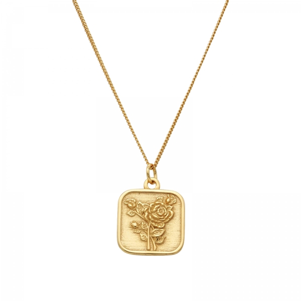 Rose Square Pendant Necklace
