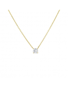 14K Solid Gold Solitaire Crystal Necklace