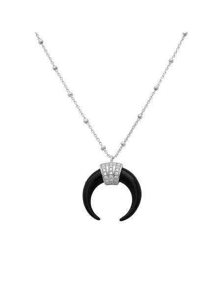 Jeweled Black Horn Necklace - silver