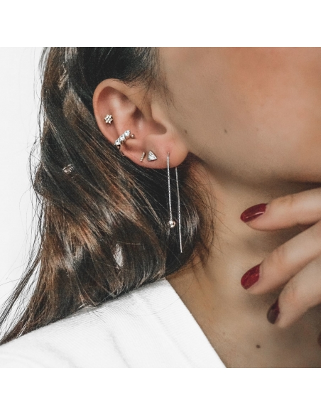 Ear Threader Oorbellen - zilver