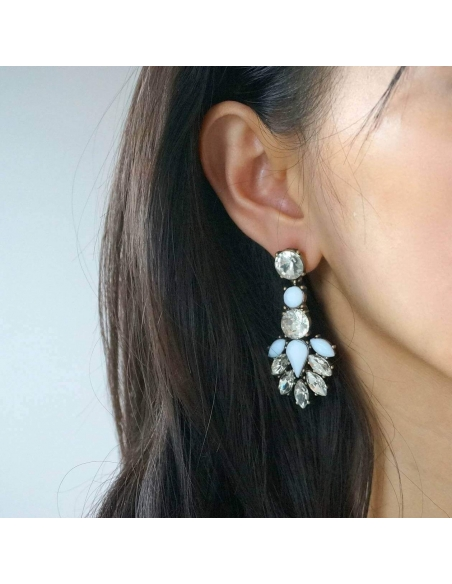White Crystal Drop Earrings