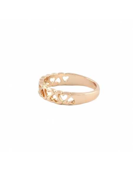 Roze Gouden Cut Out Hartjes Ring