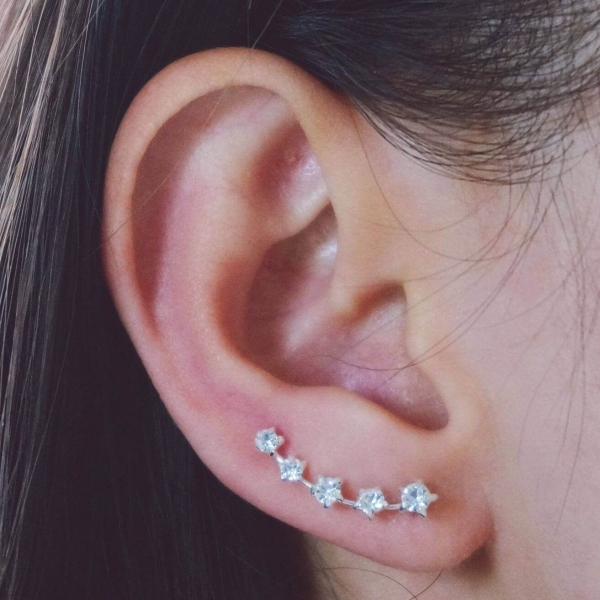 Crystal Stars Ear Pins