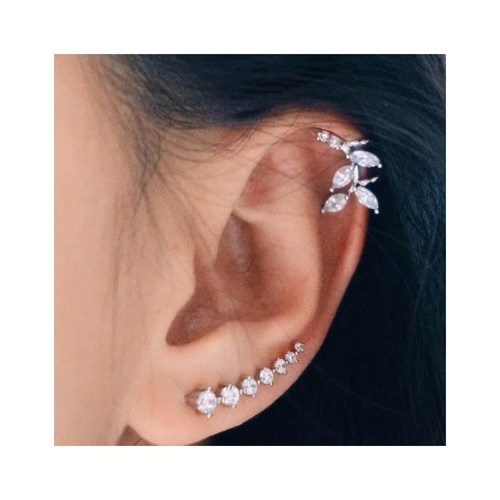 Leaf Ear Cuff 925 Sterling Silver Cartilage Earrings